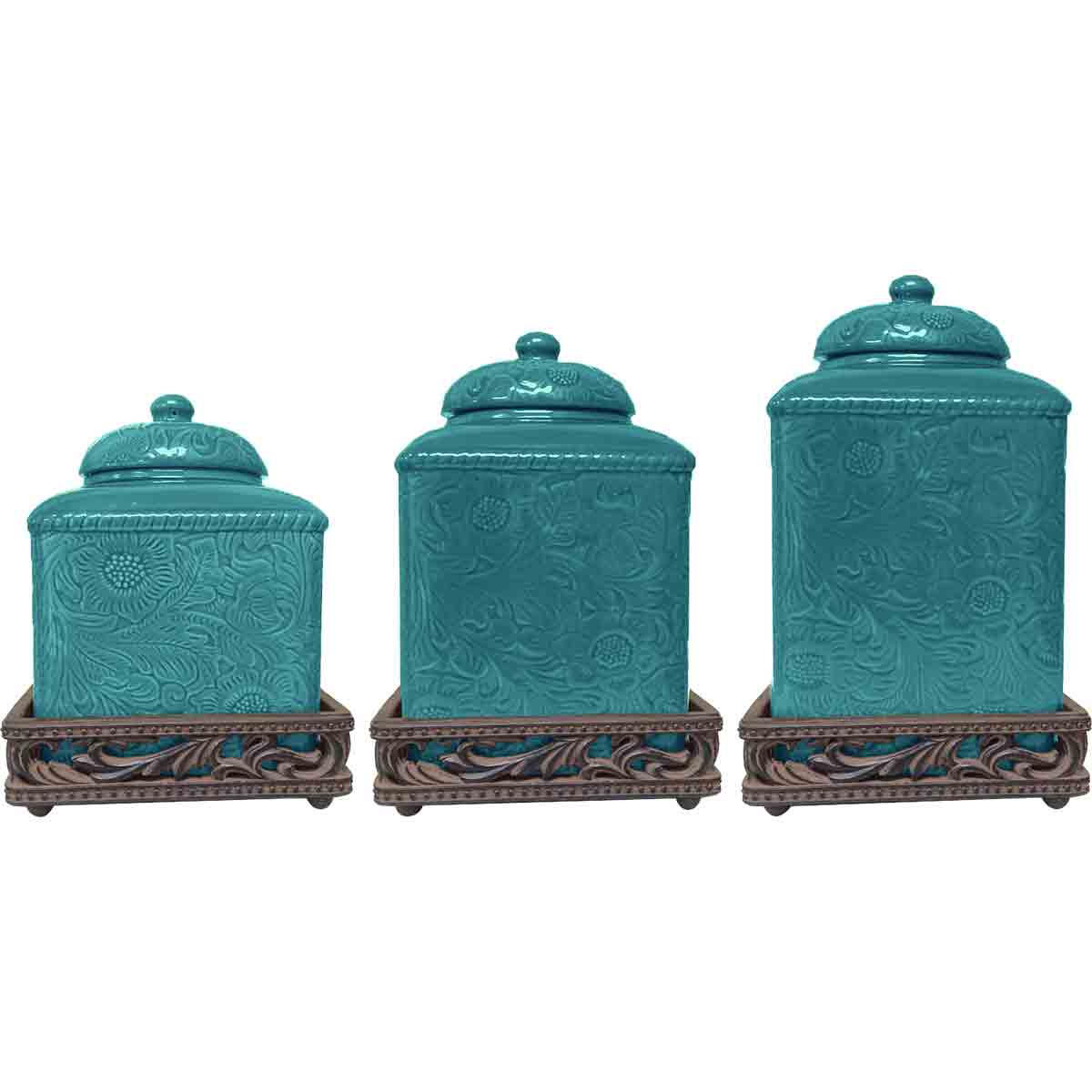 Savannah Turquoise Canister Set with Base