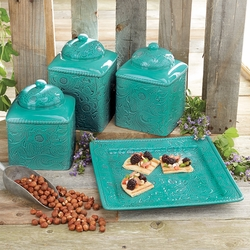 Savannah Turquoise Kitchen Canister Set and Platter