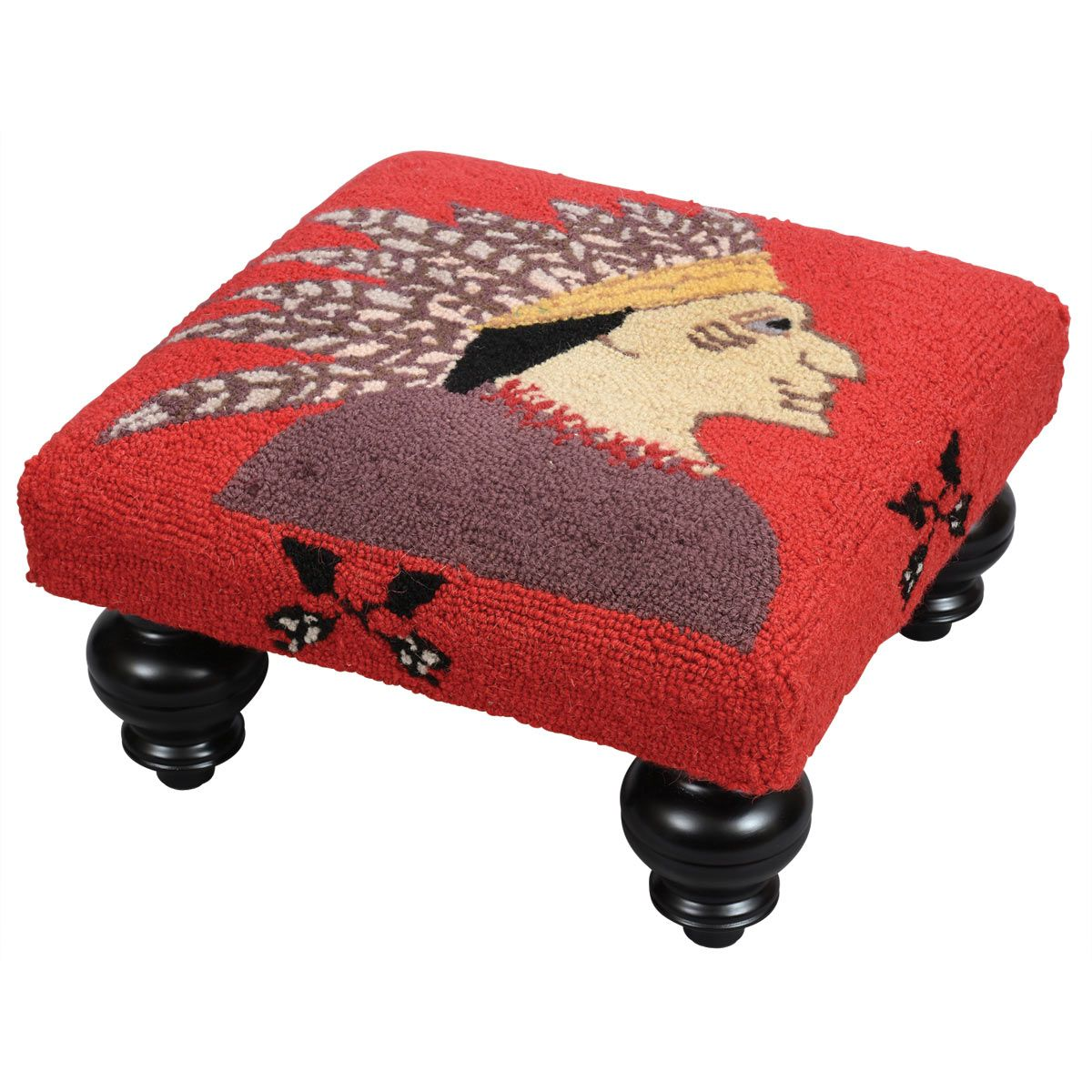 Chief Hooked Wool Footstool
