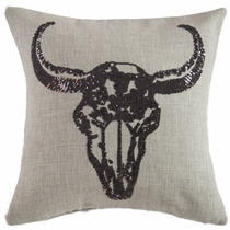 Sequin Steer Skull Pillow
