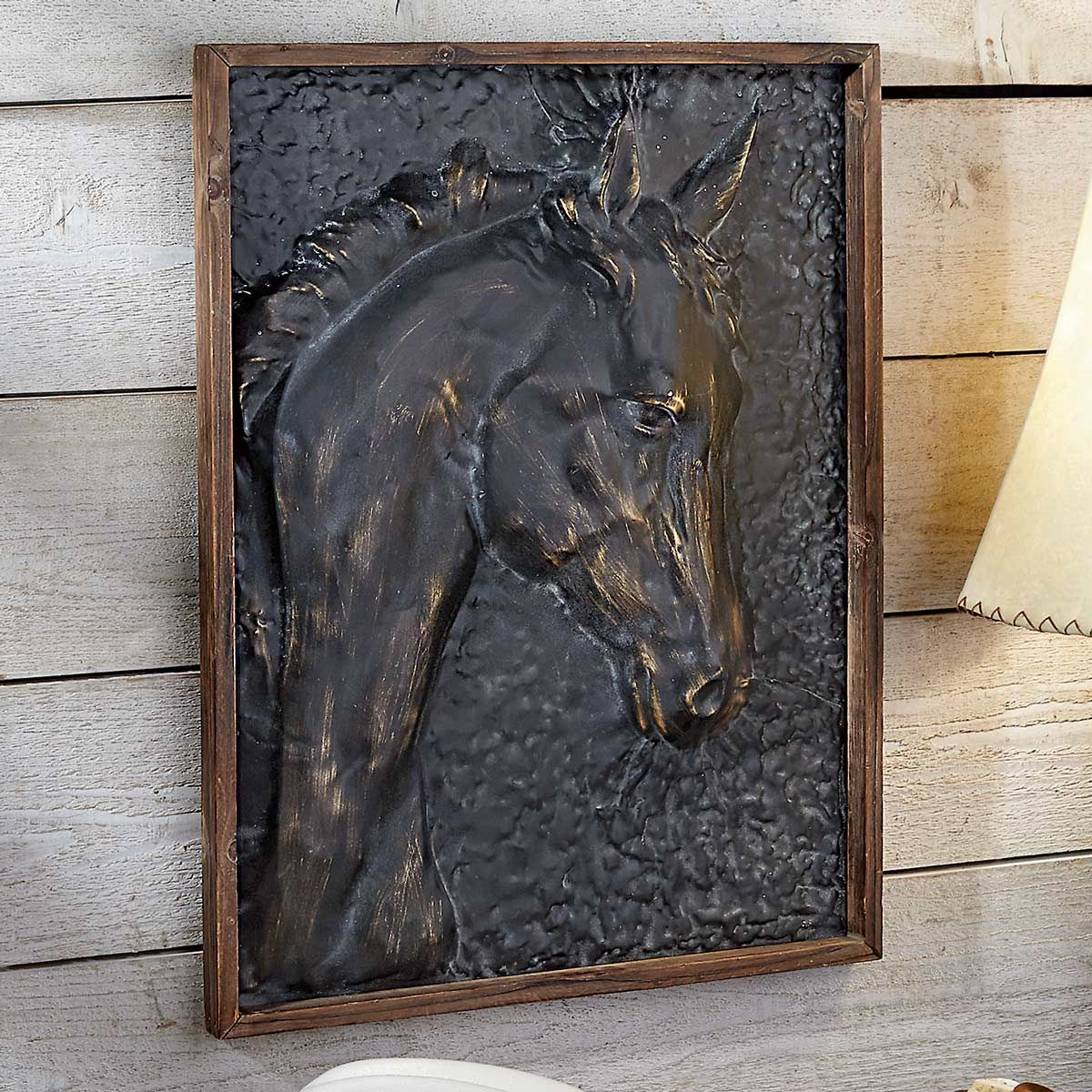 Serene Stallion Metal Embossed Framed Art
