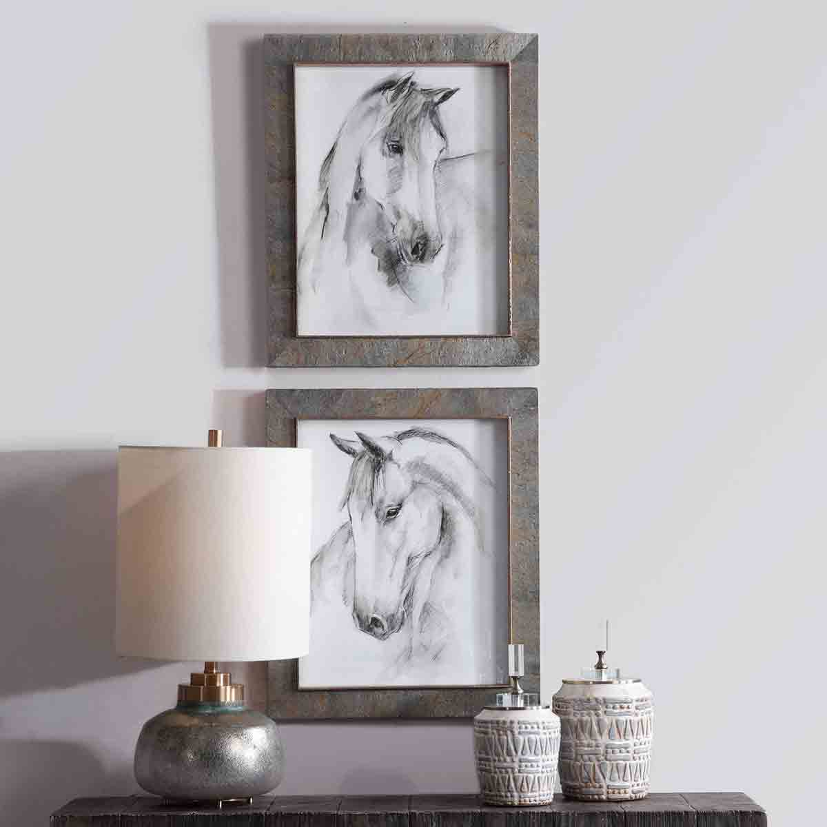 Serenity Horse Watercolor Framed Prints - Set of 2