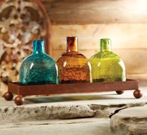 Set of Three Glass Tequila Bottles with Iron Tray