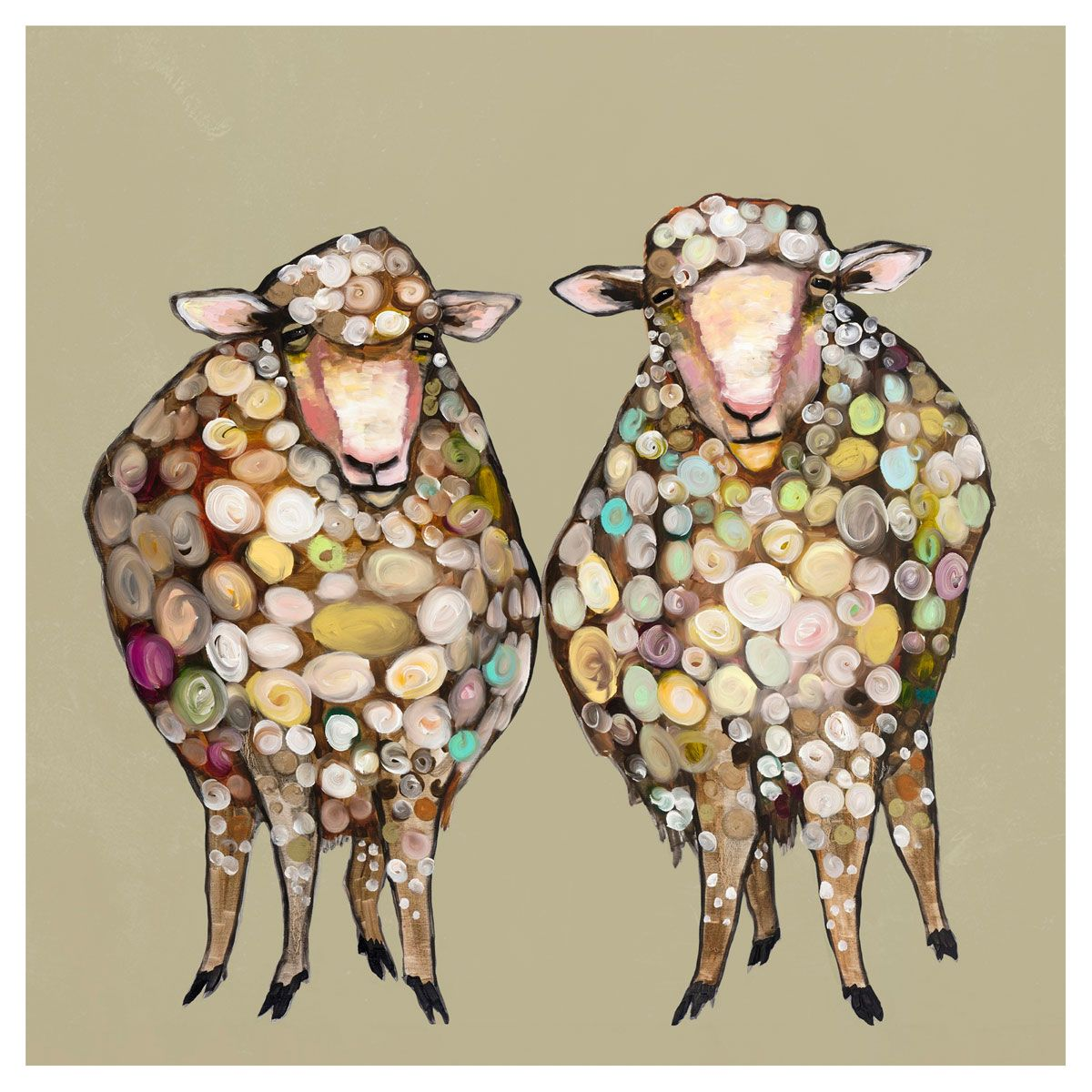 Sheepish Couple Taupe Canvas Art