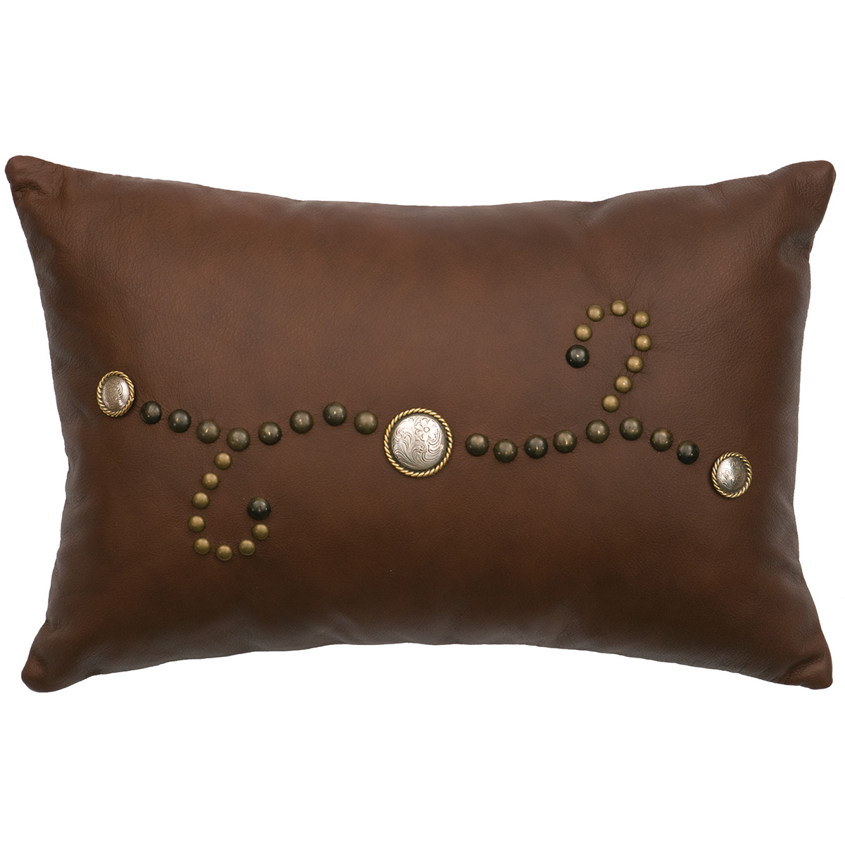 Sierra Brown Leather Pillow with Fabric Back