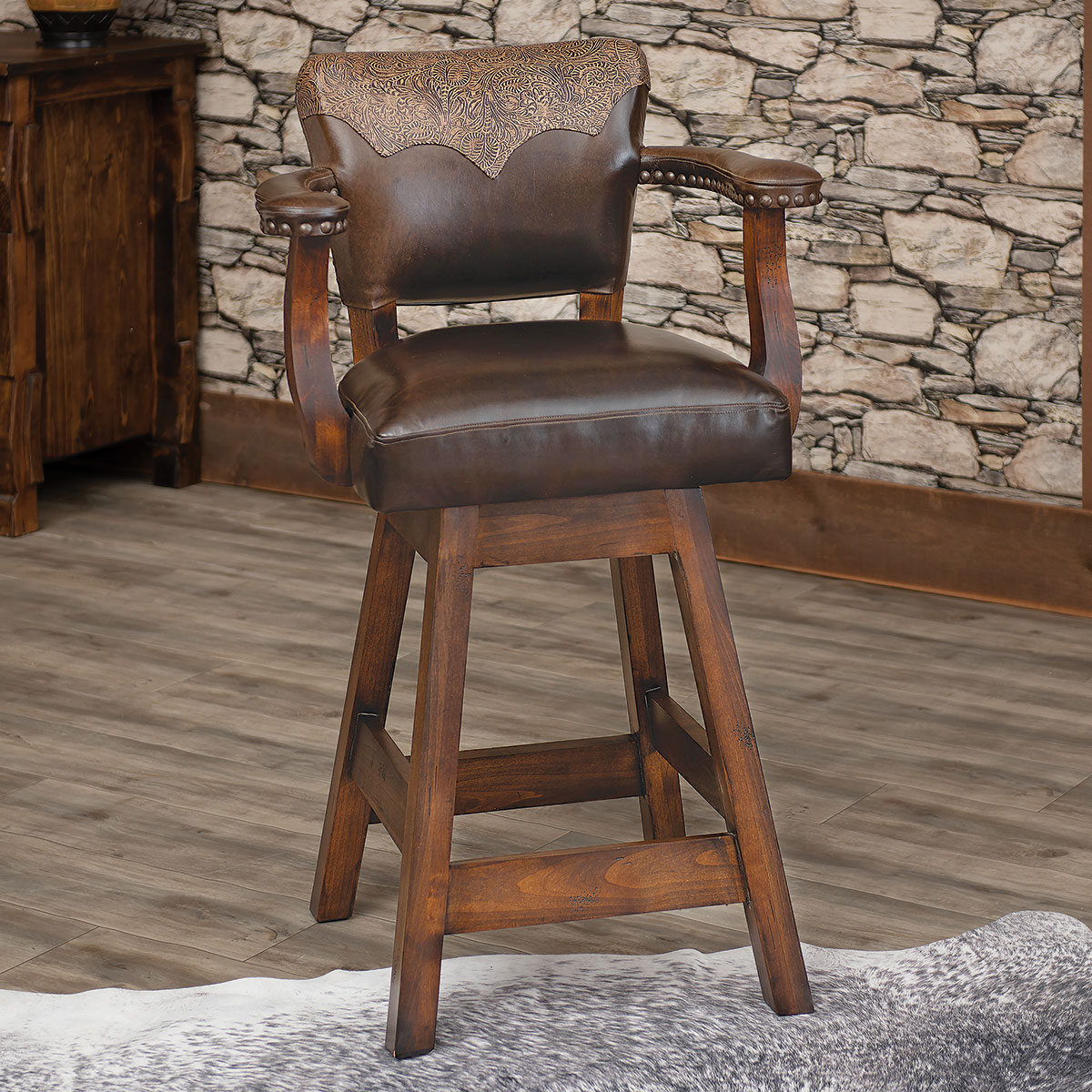 Sierra Canyon Tooled Leather Barstool