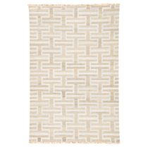 Silver Geometric Stacked Rug - 8 x 10