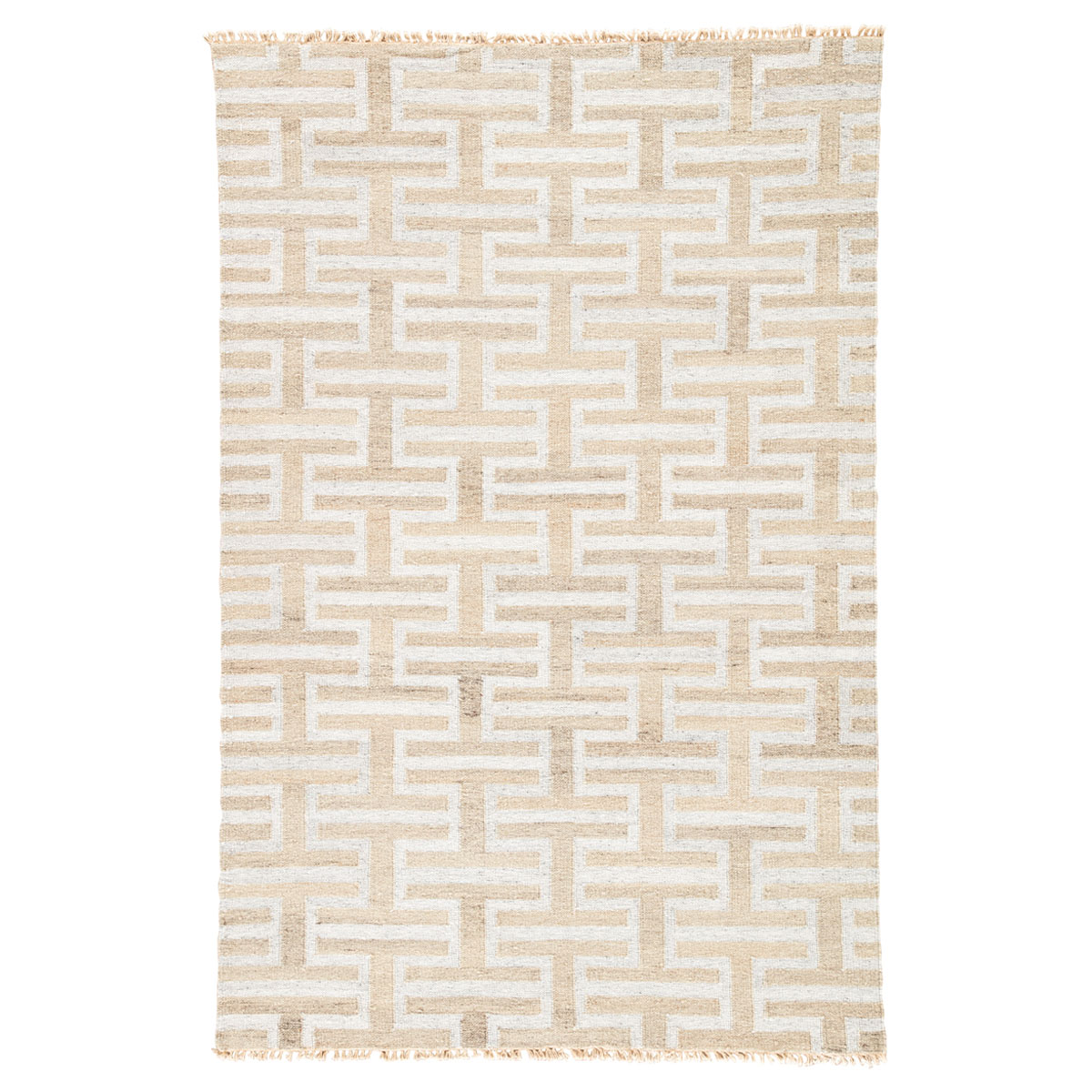 Silver Geometric Stacked Rug - 9 x 12
