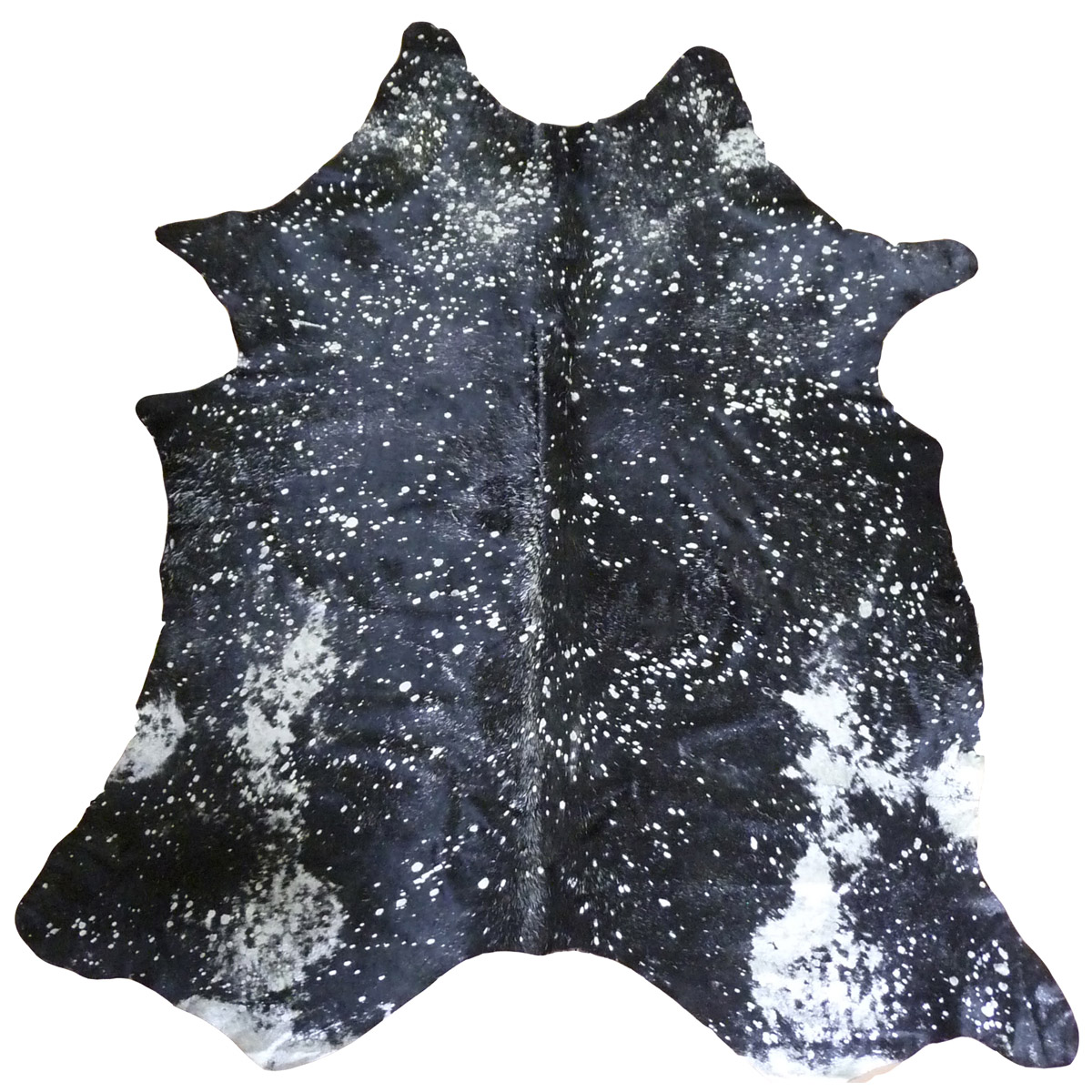 Silver Metallic on Black Cowhide - Extra Large