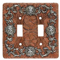 Silver Stars Double Switch Plate