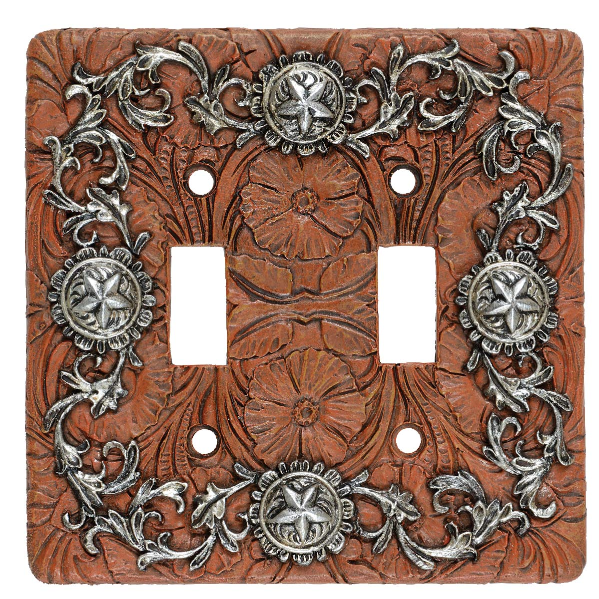 Silver Stars Double Switch Plate - CLEARANCE