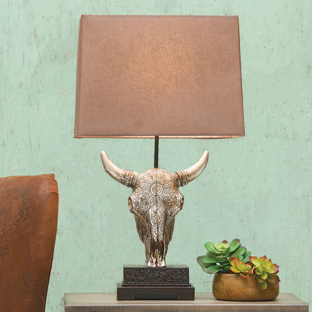 Silver Steer Accent Lamp