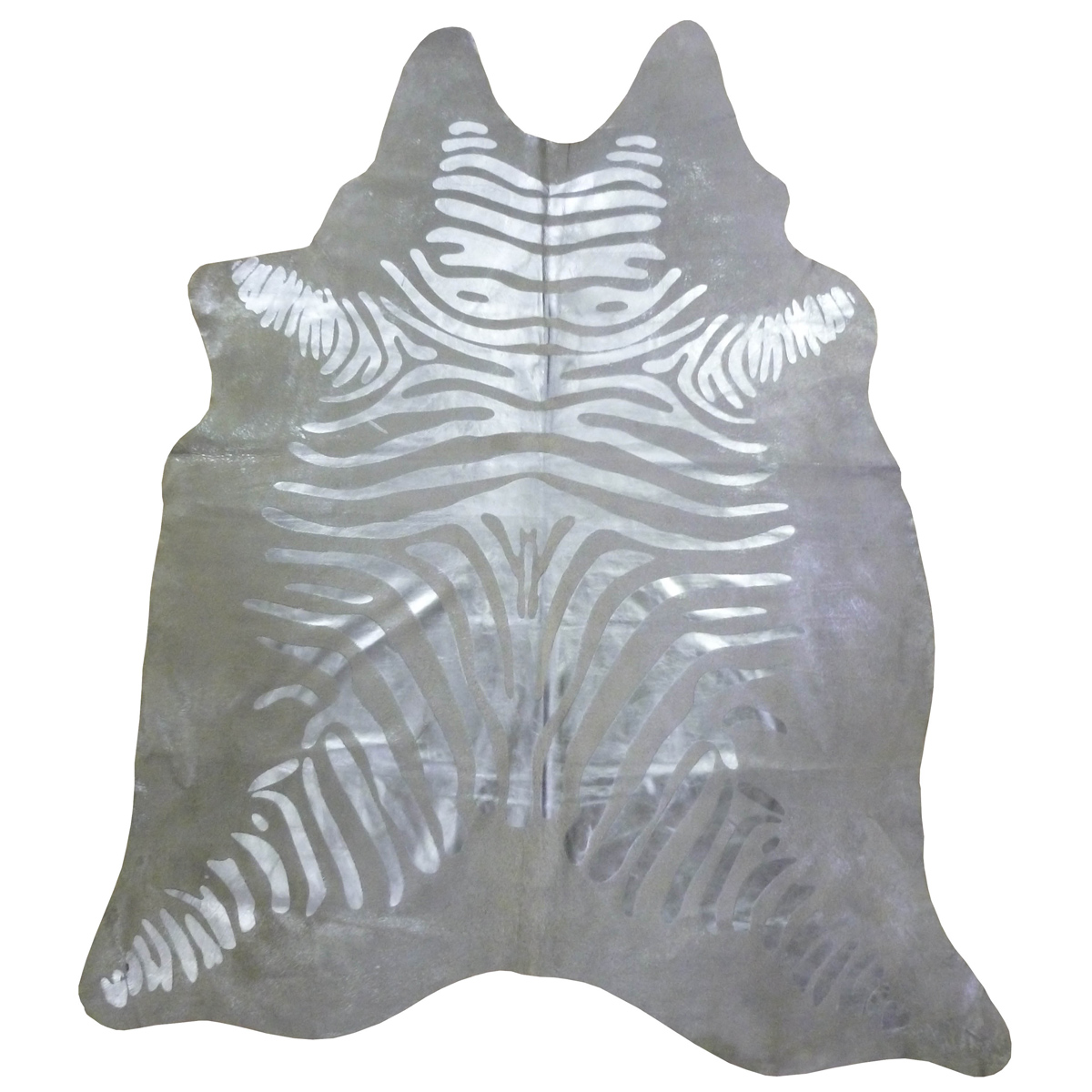 Silver Striped Metallic Zebra Cowhide - Extra Large