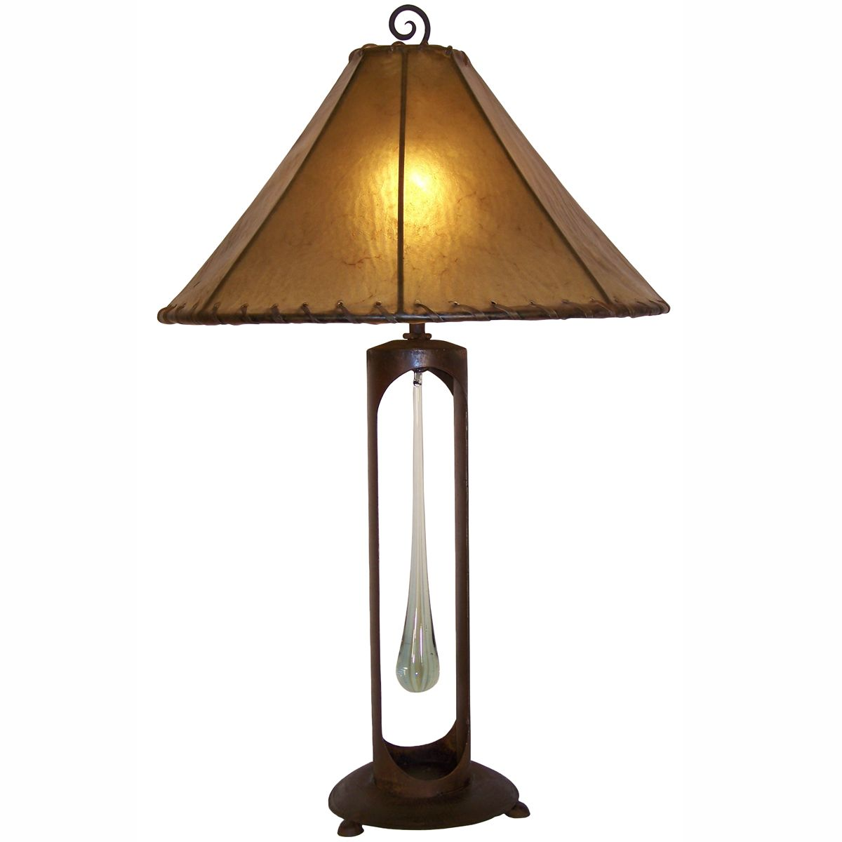 Single Tear Drop Lamp with 20-Inch Amber Rawhide Shade
