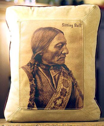 Sitting Bull Indian Leather Pillow