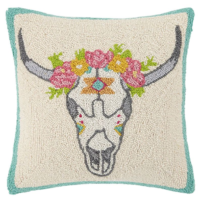 Skull and Flower Pillow