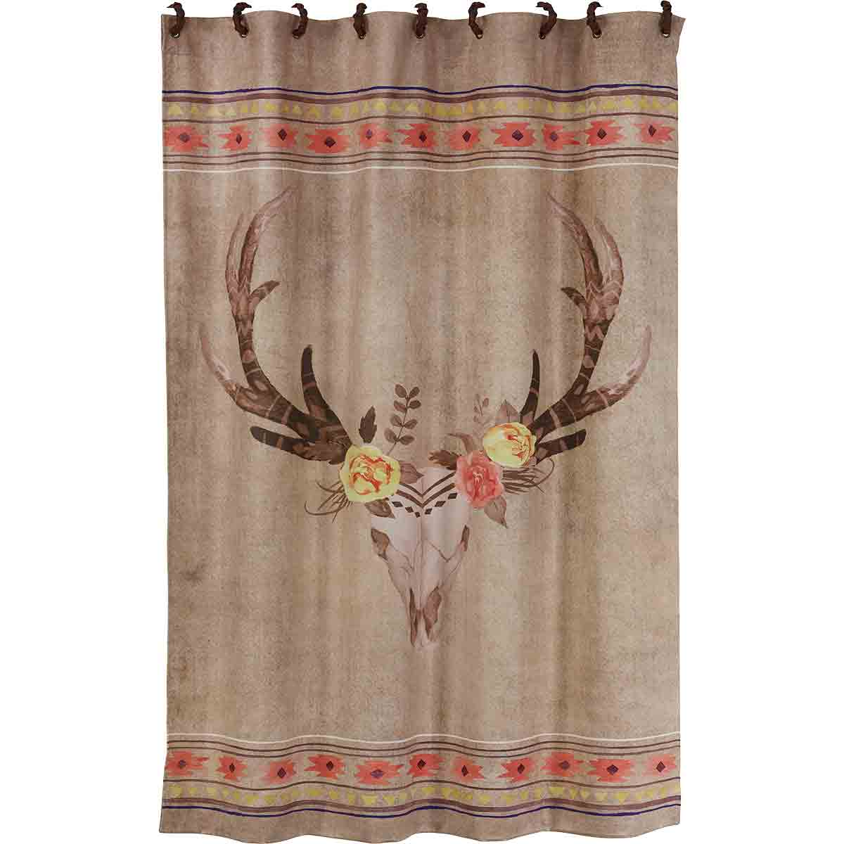 Skull with Flowers Shower Curtain