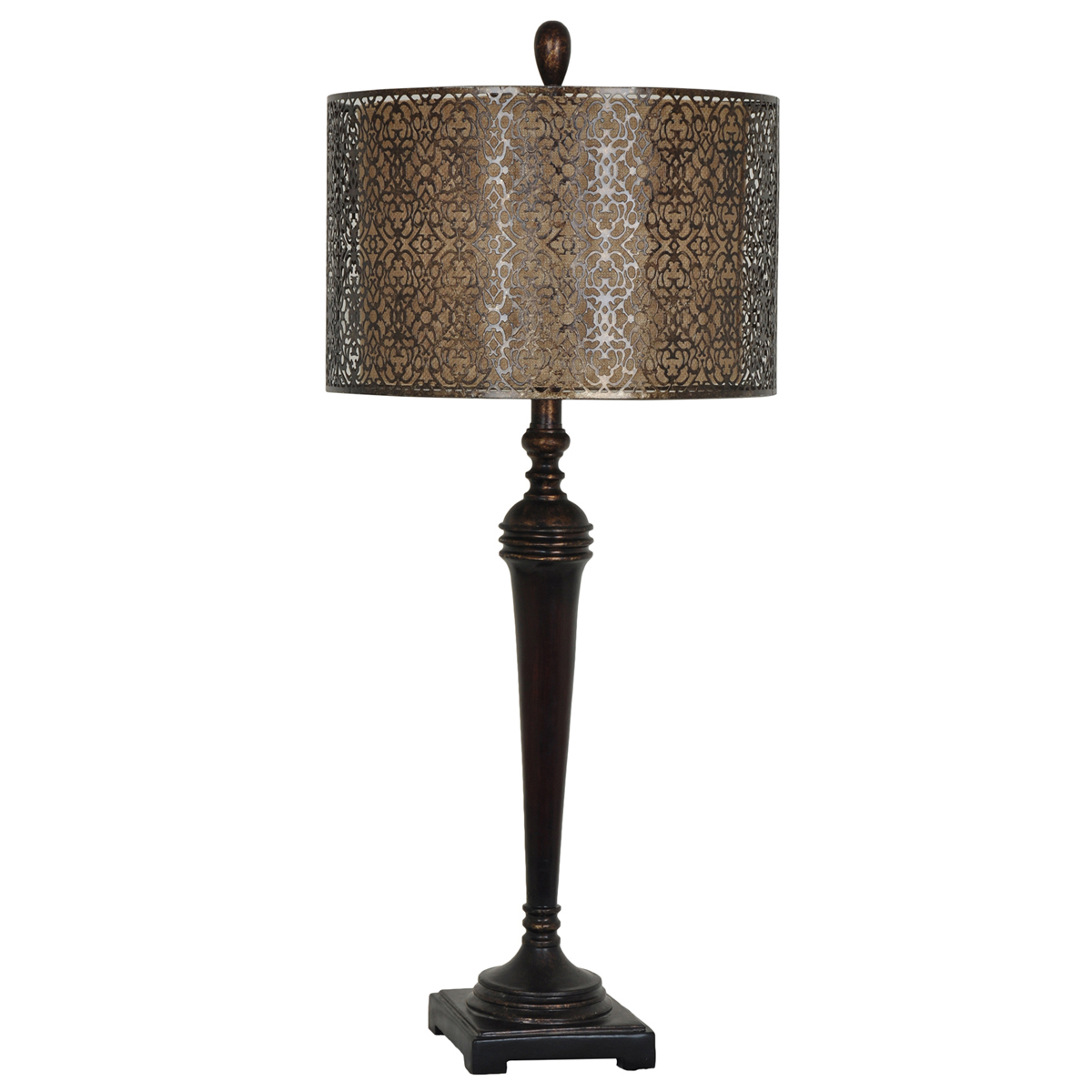 Slender Burnished Table Lamp with Ornate Shade