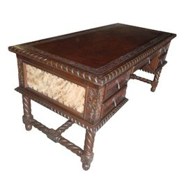 Small Solomon Desk with Brindle Hair on Hide