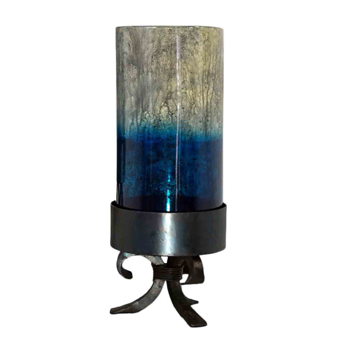 Small Two Tone Candle Holder on Forged Iron Base