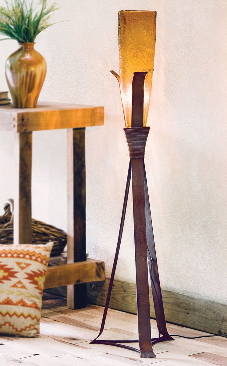 Sonora Floor Lamp with Amber Glass Shade