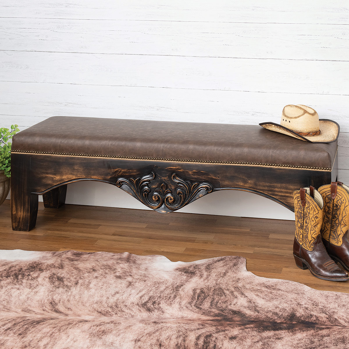 Sonora Ranch Leather Bench