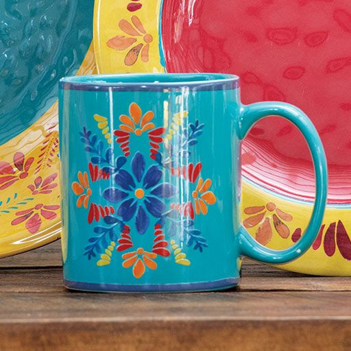 Southwest Bloom Turquoise Mugs- Set of 4