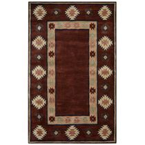 Southwest Burgundy Double Shapes Rug - 8 Ft Round