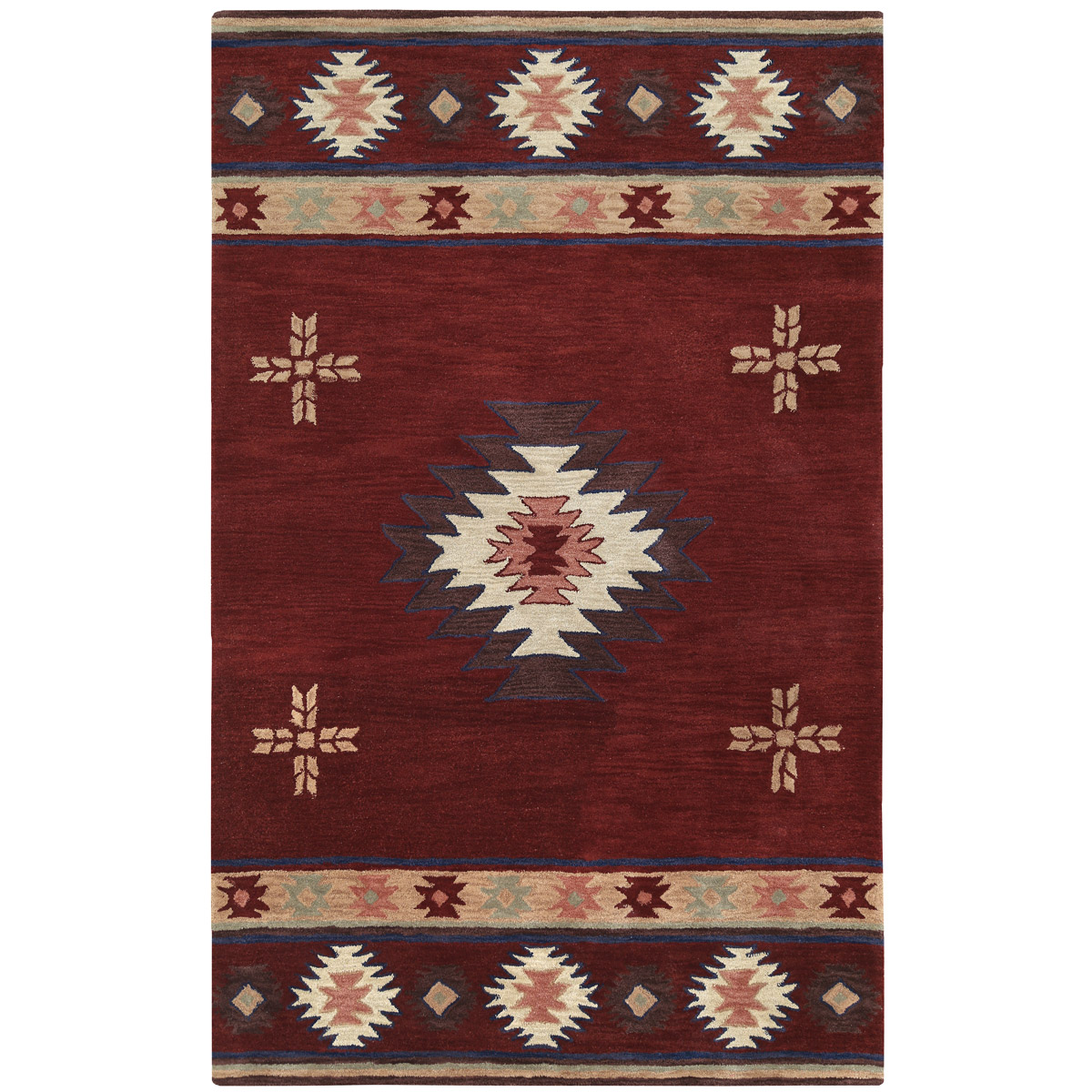 Southwest Burgundy Rug - 8 Ft Round