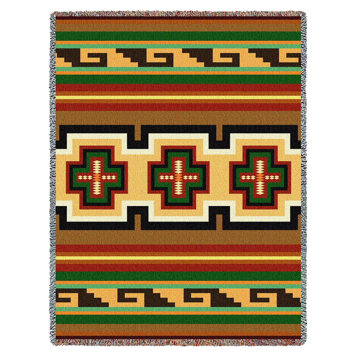Southwest Geometric Green and Red Throw