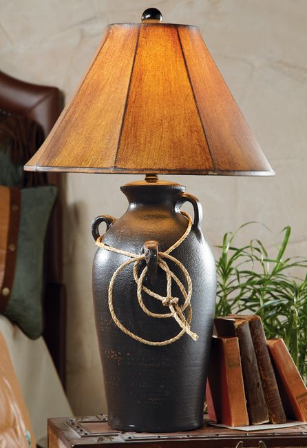 Southwest Jar with Rope Table Lamp