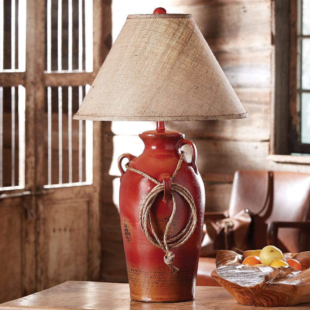 Firebrick Southwest Jar with Rope Table Lamp