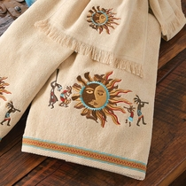 Southwest Kokopelli Dance Bath Towel