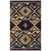 Southwest Navy and Burgundy Rug - 5 x 8