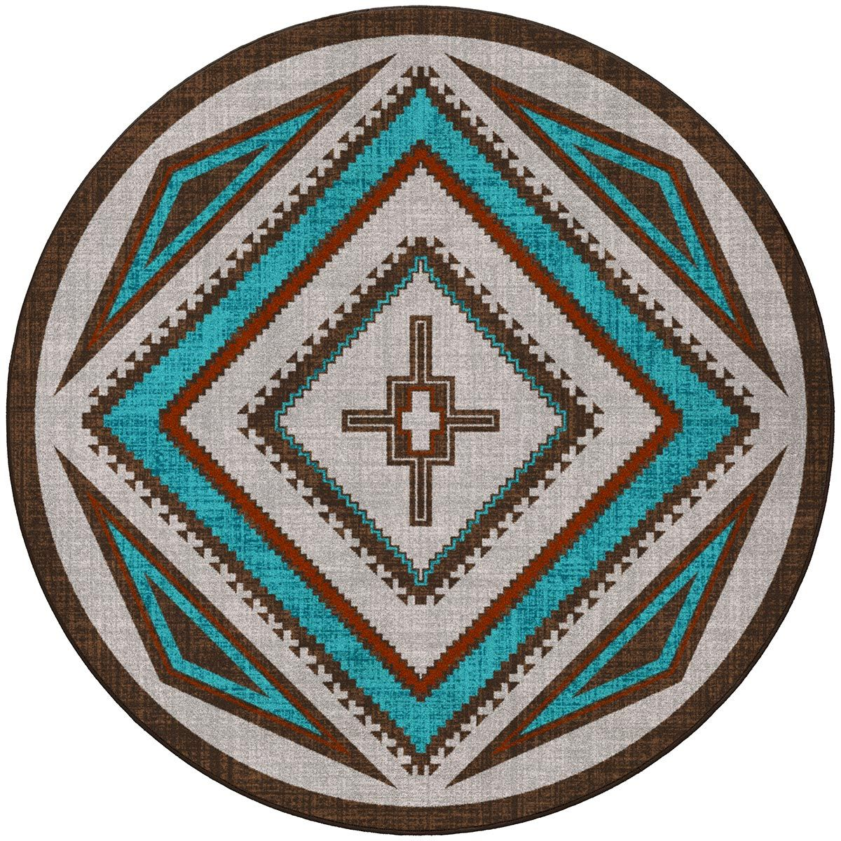 Southwest Nights Turquoise Rug - 8 Ft. Round