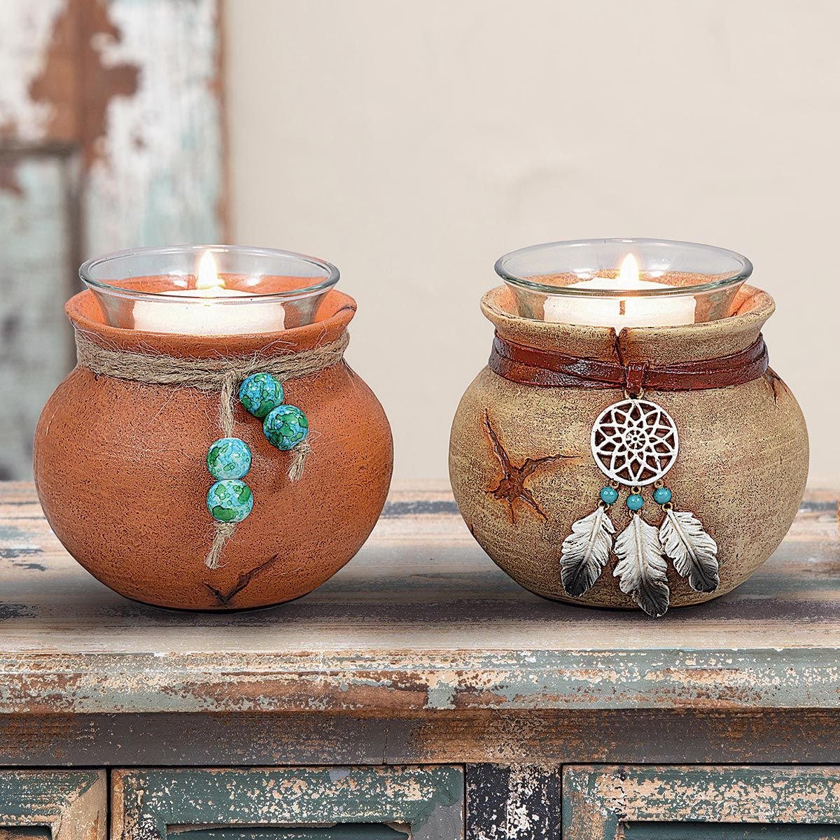 Southwest Pots Candle Holders - Set of 2