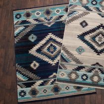 Southwest Rains Storm Blue Rug - 5 x 7