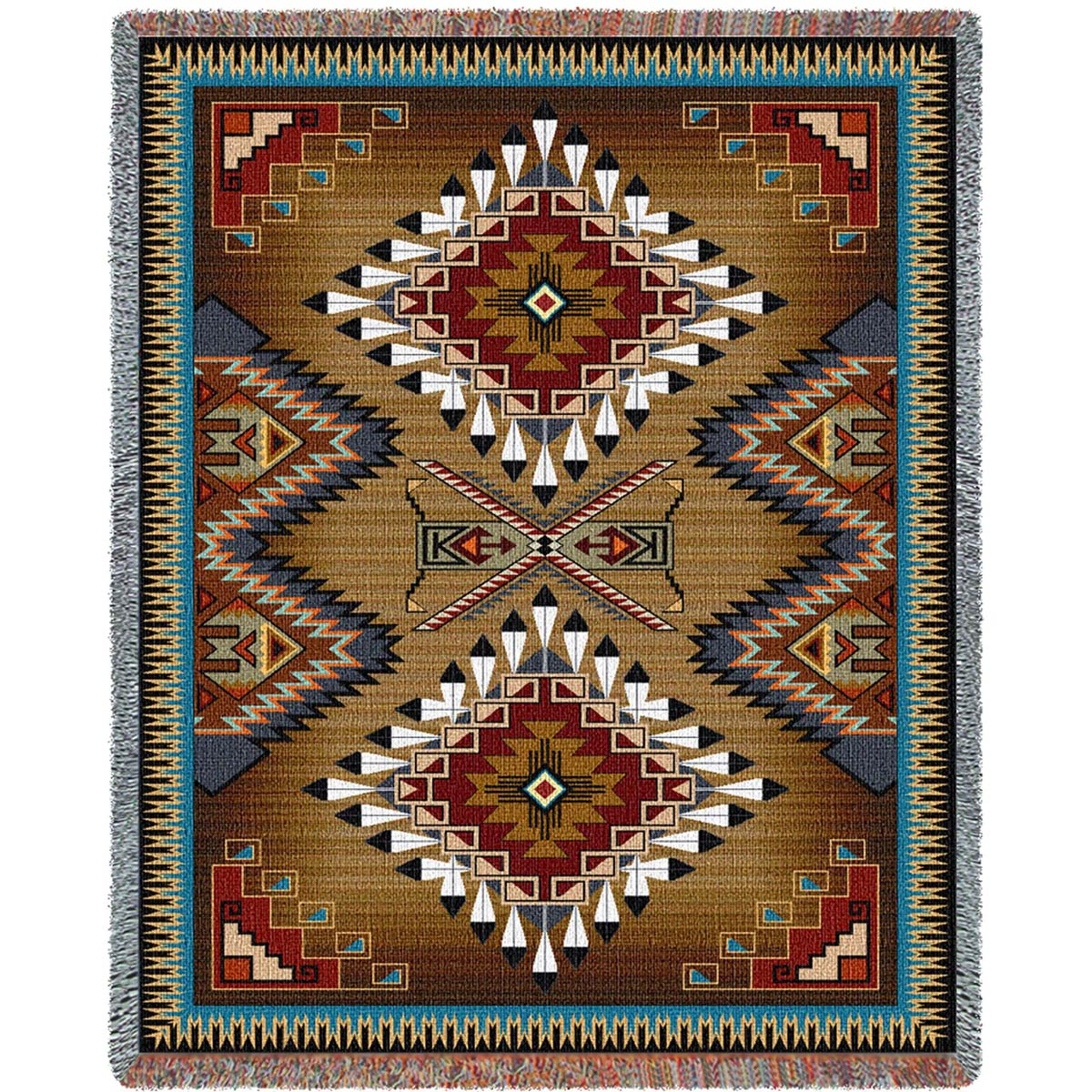 Southwest Sampler Cornflower and Red Extra Large Blanket