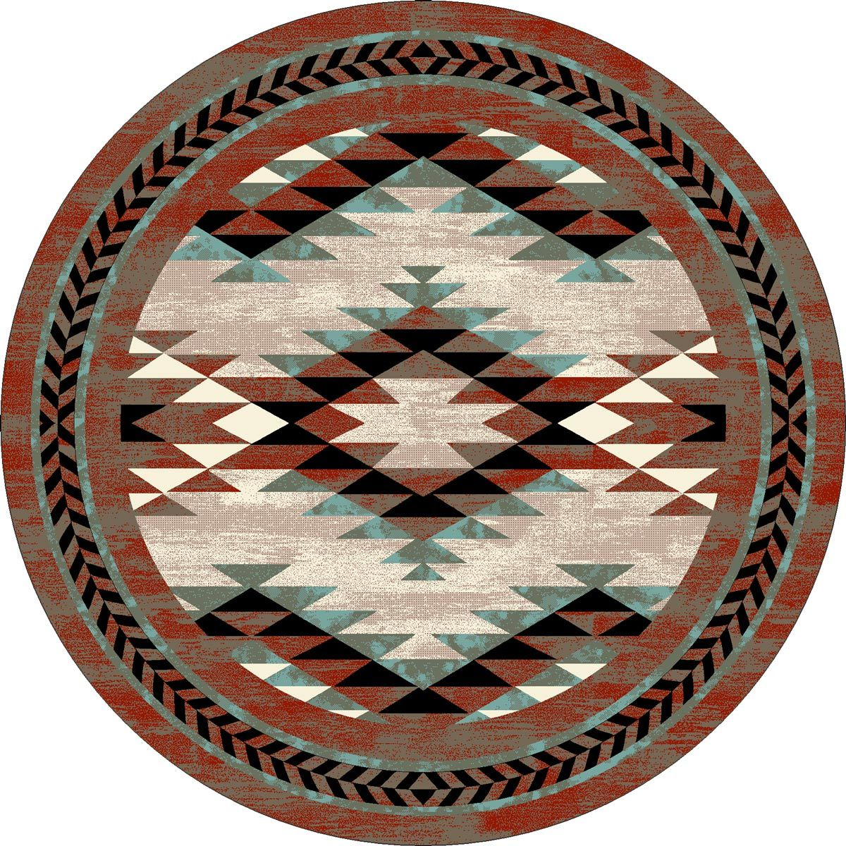 Southwest Sawtooth Rug - 8 Ft. Round