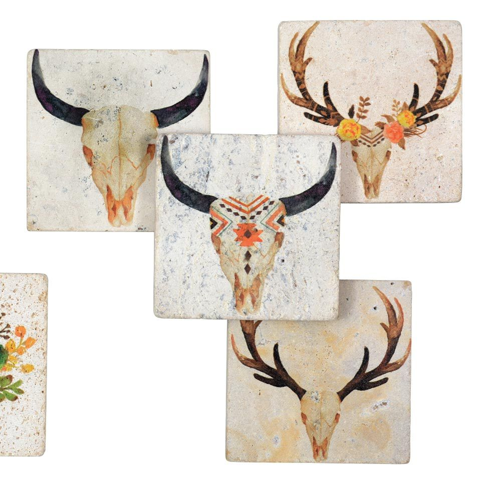 Southwest Skull Coasters (4 pcs) - CLEARANCE