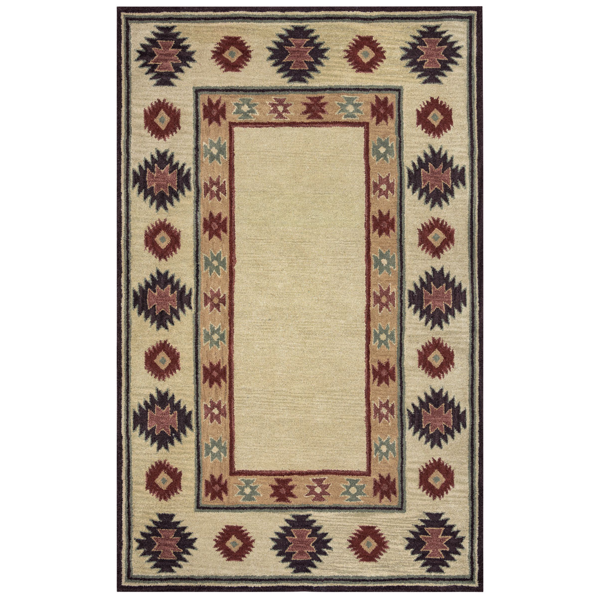 Southwest Tan Double Shapes Rug - 2 x 8