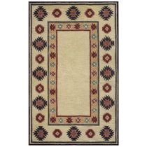 Southwest Tan Double Shapes Rug - 8 Ft Round