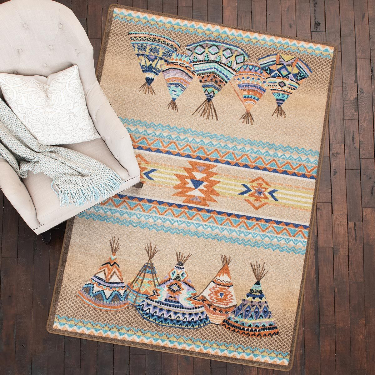 Southwest Tepees Natural Rug - 3 x 4