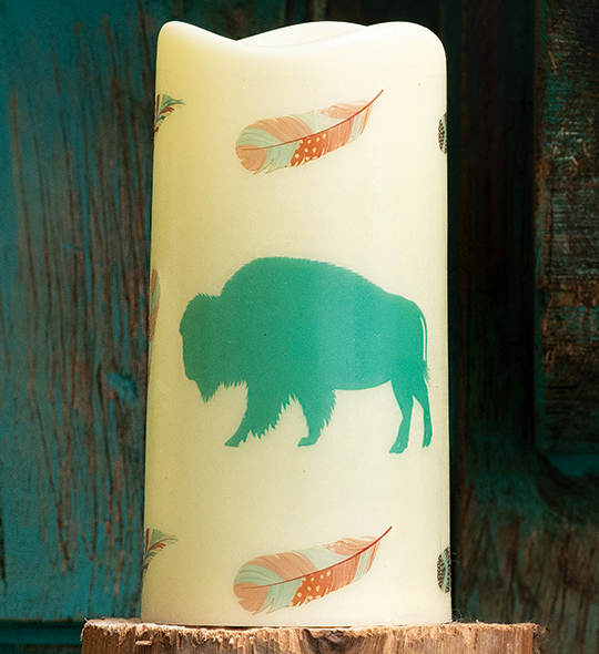 Southwest Visions Buffalo LED Candle