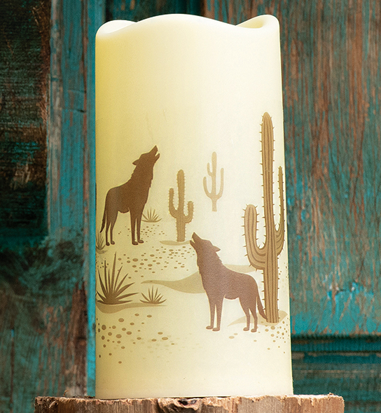 Southwest Visions Coyote LED Candle
