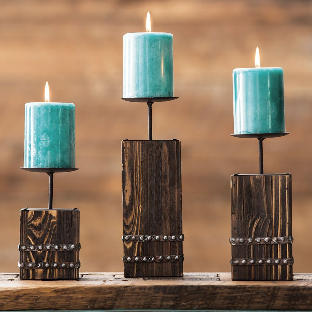Southwest Wood Candle Holder Set - 3 pcs