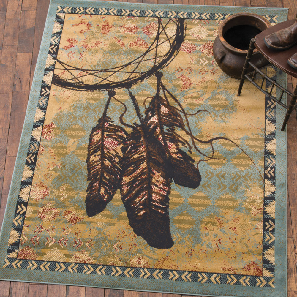 Southwestern Feather Blue Rug - 2 x 3