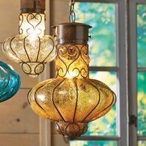Southwestern Flower Glass Pendant Light - Large