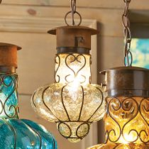 Southwestern Flower Glass Pendant Light - Medium