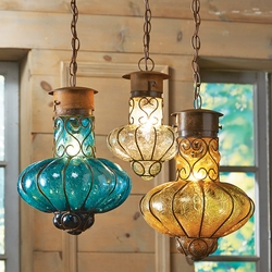Southwestern Flower Glass Pendant Lights